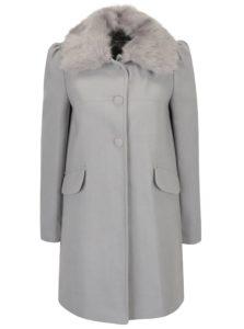 Svetlosivý kabát s umelou kožušinou Miss Selfridge