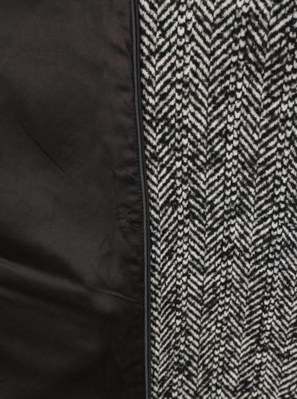 Krémovo–čierny dámsky vlnený vzorovaný kabát Superdry Classic