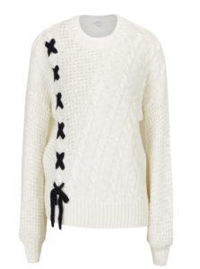 Krémový sveter s čiernym viazaním Miss Selfridge