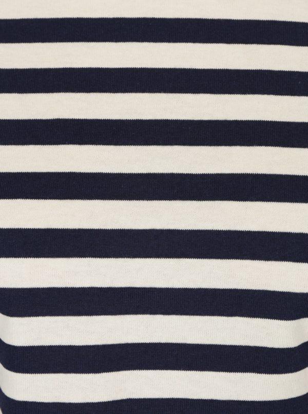 Krémovo-modrý pruhovaný crop top Miss Selfridge