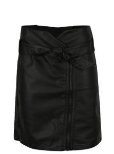 Čierna koženková sukňa so zipsom Garcia Jeans