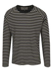 Čierne pruhované pánske tričko s dlhým rukávom Garcia Jeans