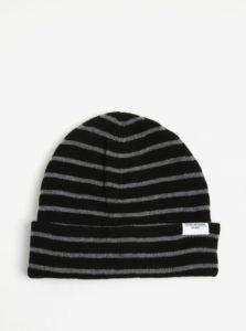 Sivo-čierna pruhovaná čiapka Shine Original