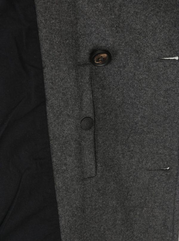 Sivý pánsky melírovaný vlnený kabát Garcia Jeans