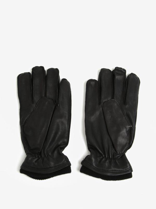 Čierne kožené rukavice Shine Original