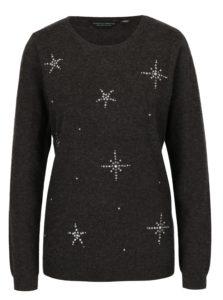 Sivý melírovaný sveter s motívom hviezd Dorothy Perkins