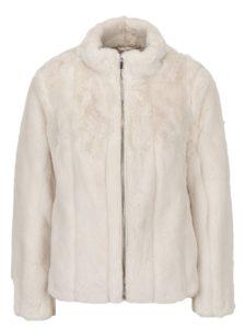 Krémový krátky kabát z umelej kožušiny Dorothy Perkins Petite