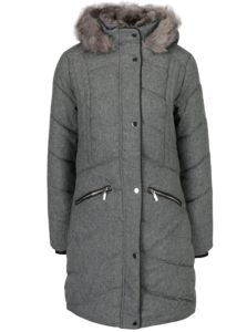 Sivý melírovaný prešívaný kabát s umelým kožúškom Dorothy Perkins