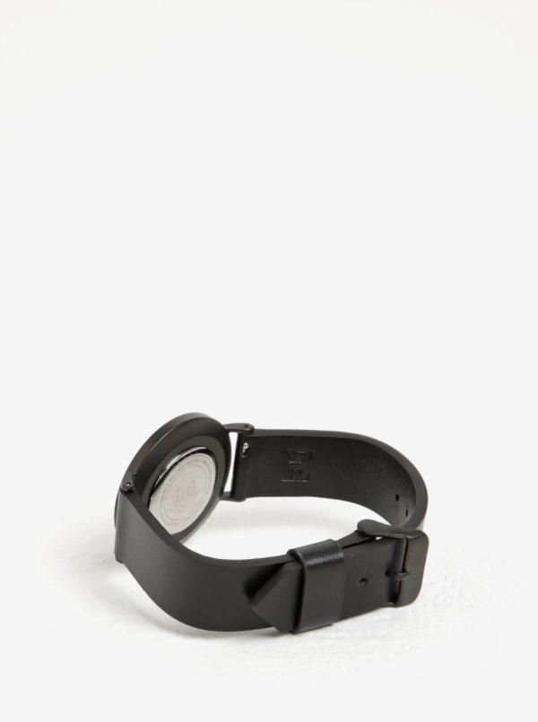 Čierne dámske hodinky s koženým remienkom Esoria Alys