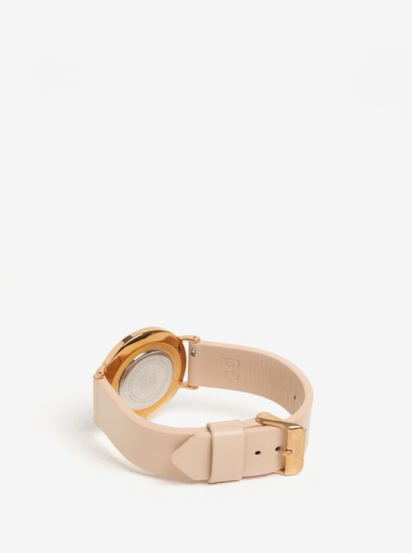 Dámske hodinky v ružovozlatej farbe s koženým remienkom Esoria Alys