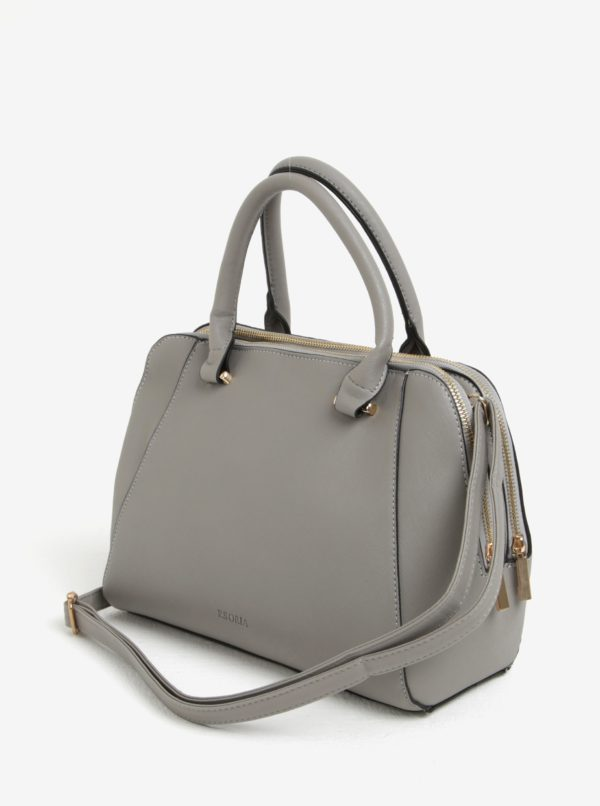 Sivá kabelka so zipsami v zlatej farbe Esoria Polines
