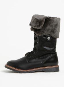 Čierne dámske zimné topánky s umelým kožúškom s.Oliver