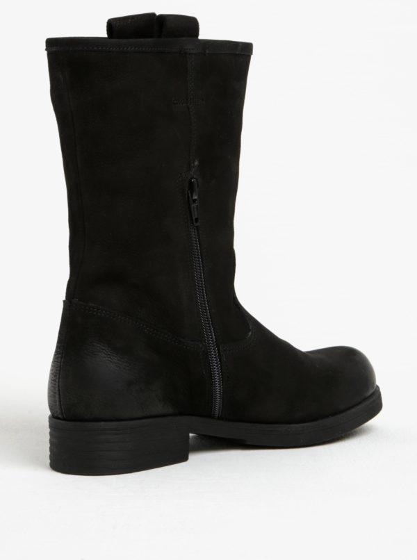 Čierne dámske kožené nízke čižmy s.Oliver