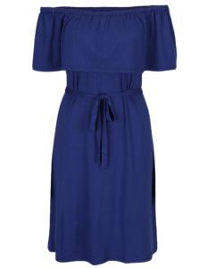 Modré rovné šaty s odhalenými ramenami Dorothy Perkins