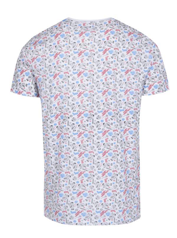 Biele vzorované tričko s náprsným vreckom Shine Original