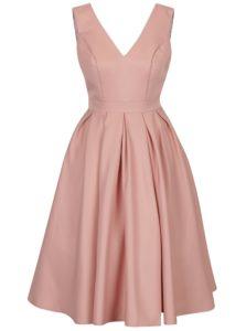 Svetloružové šaty s výstrihom na chrbte Chi Chi London Aymee