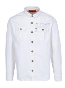 Biela neformálna košeľa s potlačou na chrbte Shine Original