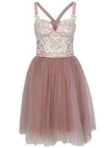 Staroružové šaty s čipkovaným topom a tylovou sukňou Chi Chi London Selina