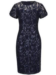 Tmavomodré čipkované puzdrové šaty s flitrami Dorothy Perkins