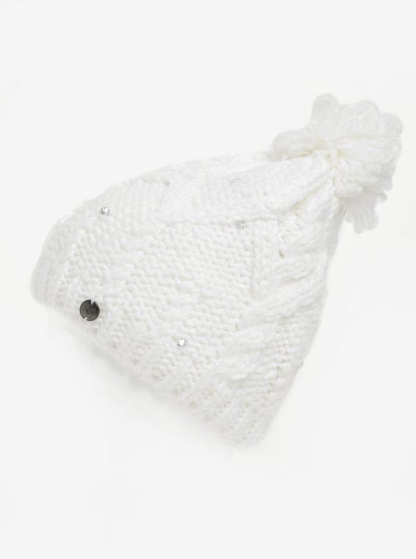 Biela dámska pletená čiapka s kamienkami Roxy Shoot Star