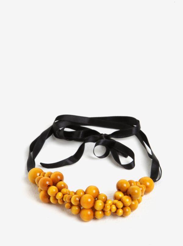 Čierno-žltý drevený náhrdelník KO-RA-LE Wav