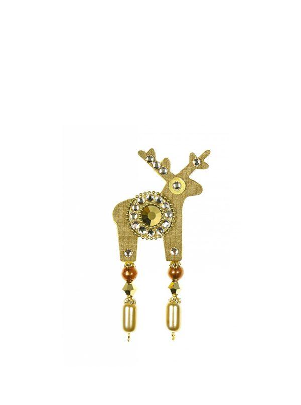 Malá brošňa jeleň v zlatej farbe s komponentmi Preciosa Components Deers