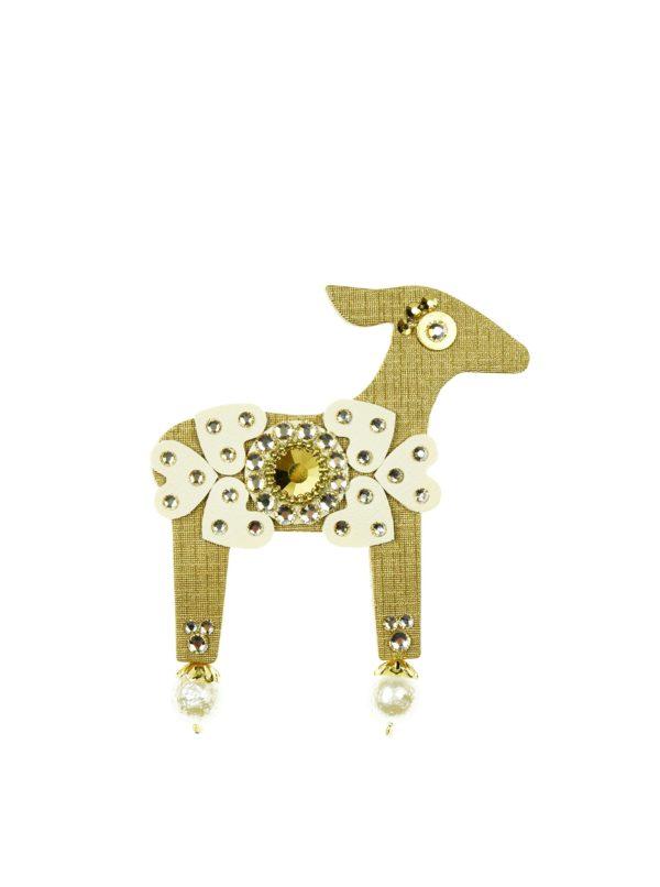 Brošňa v tvare lane v zlatej farbe s komponentmi Swarovski Crystals Deers