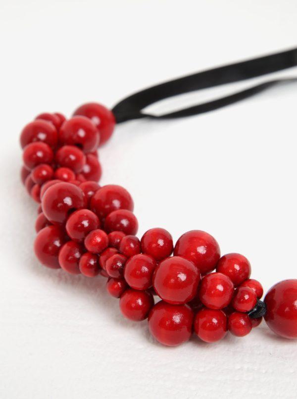 Čierno-červený drevený náhrdelník KO-RA-LE Wav