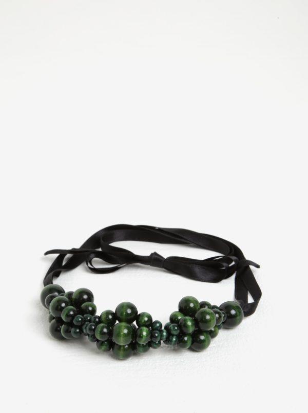 Čierno-zelený drevený náhrdelník KO-RA-LE Wav