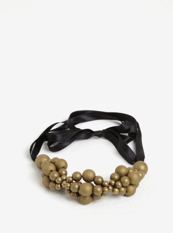 Drevený náhrdelník v čierno-zlatej farbe KO-RA-LE Wav