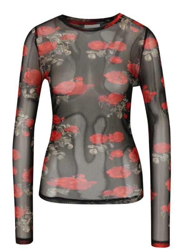 Čierne priesvitné kvetované tričko Noisy May Naya