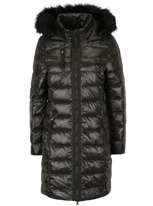 Kaki prešívaný páperový zimný kabát s umelým kožúškom VERO MODA Onella