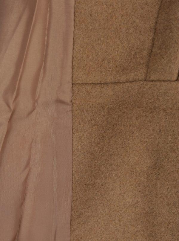 Hnedý zimný kabát s prímesou vlny VERO MODA Pisa