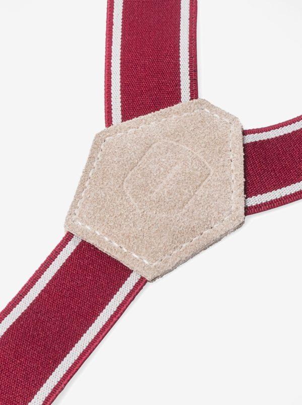 Červené pánske traky s koženými a drevenými detailmi BeWooden Revio Suspenders