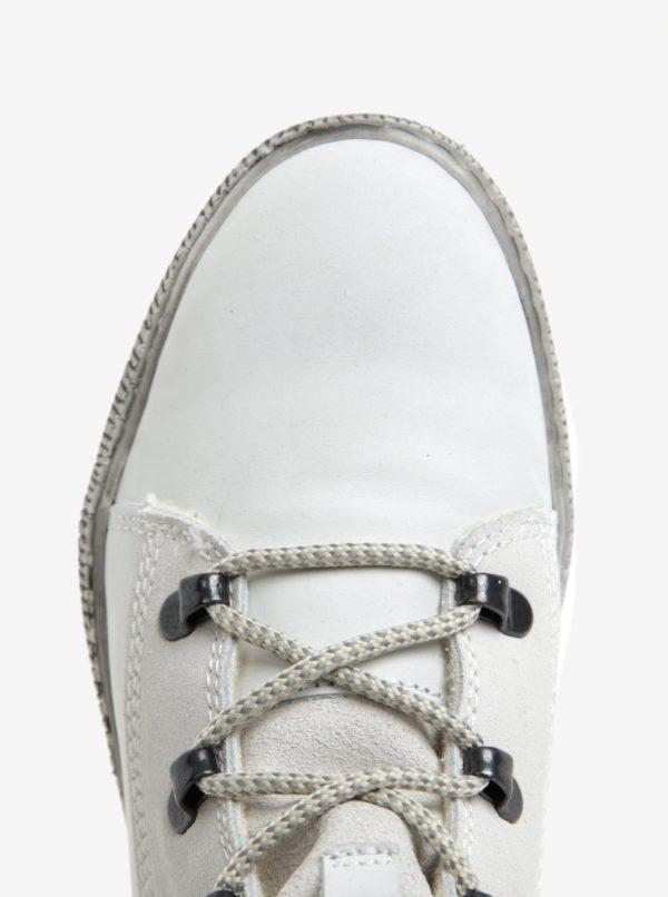 Krémové členkové kožené topánky s vlnenou podšívkou Tamaris
