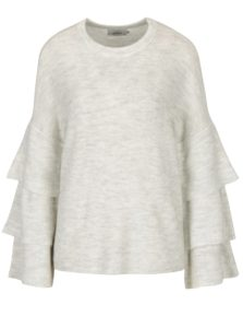 Krémový melírovaný sveter s volánmi ONLY Flower
