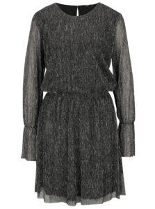 Strieborno-čierne trblietavé šaty s dlhým rukávom ONLY Yade