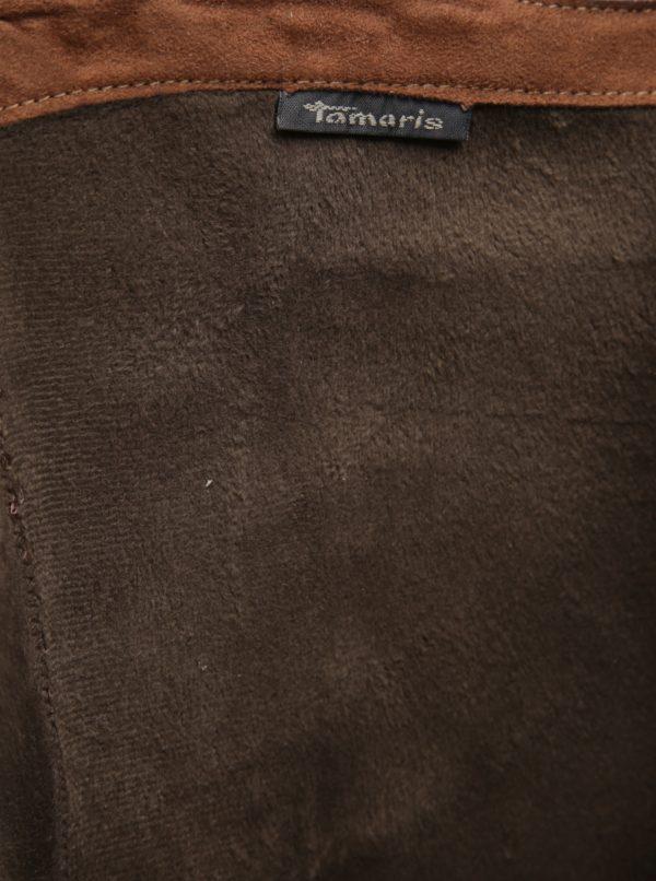 Hnedé kožené čižmy na podpätku Tamaris