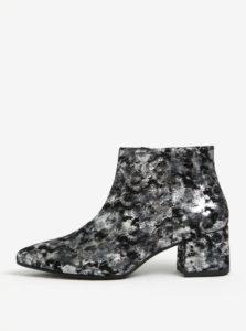 Čierno-sivé dámske kožené vzorované členkové topánky Vagabond Mya