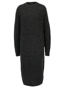 Tmavosivé melírované svetrové šaty s prímesou vlny Broadway Namara