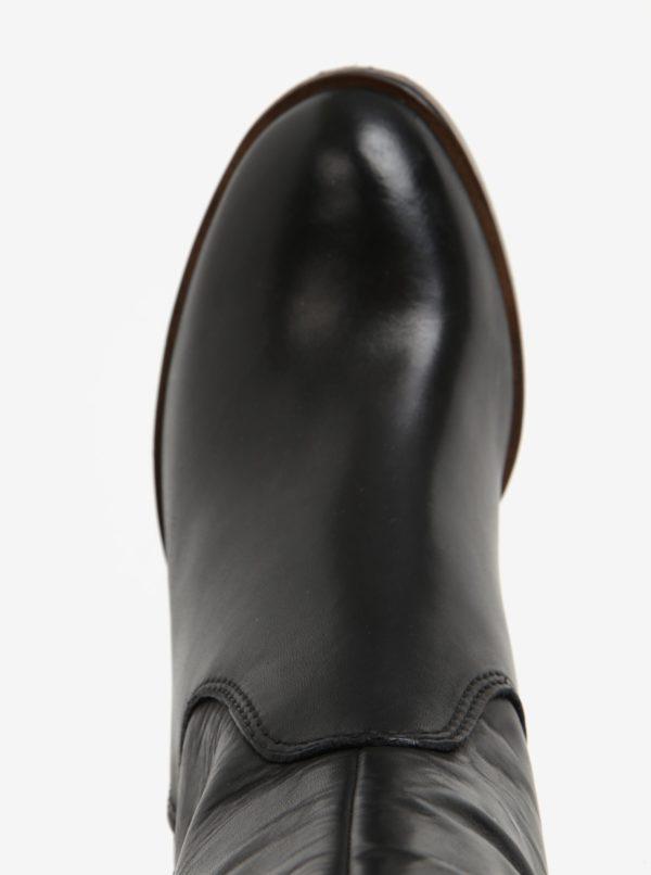 Čierne vysoké kožené čižmy na podpätku Tamaris