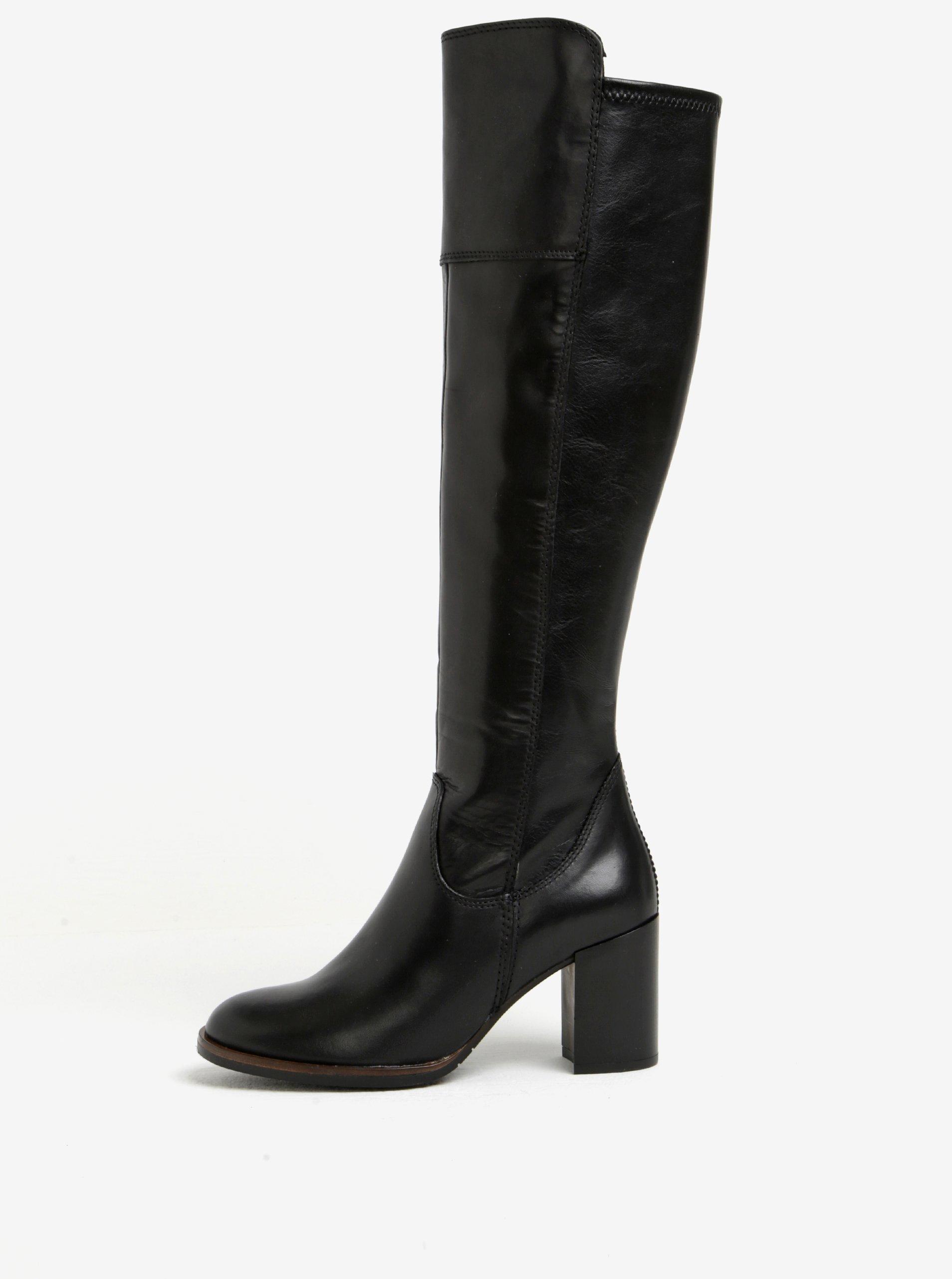 42acdaf8ee1bb Čierne vysoké kožené čižmy na podpätku Tamaris | Moda.sk