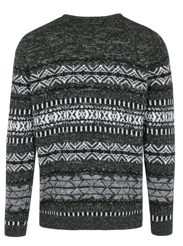 Tmavozelený vzorovaný sveter ONLY & SONS Omas