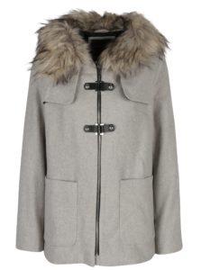 Svetlosivý dámsky krátky kabát s prímesou vlny Broadway Noomie