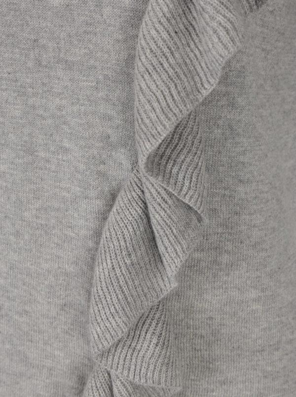Sivé melírované tričko s volánikom Broadway Olevia