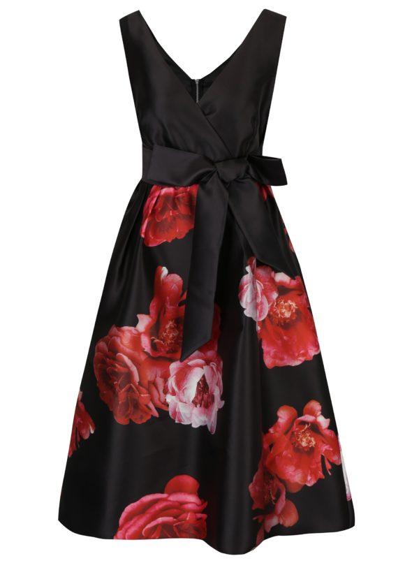 Čierne kvetované midišaty s mašľou Dorothy Perkins