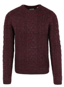 Vínový melírovaný sveter s prímesou vlny ONLY & SONS Heath