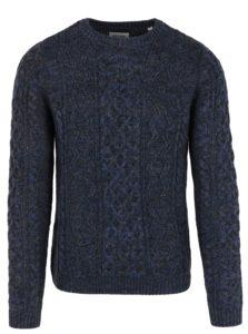 Tmavomodrý melírovaný sveter s prímesou vlny ONLY & SONS Heath