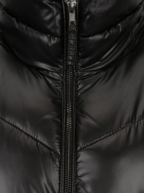 Čierny dámsky lesklý prešívaný kabát Broadway Ondina