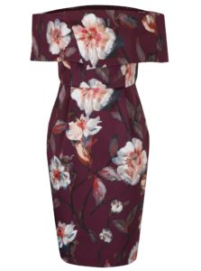 Vínové kvetované šaty s odhalenými ramenami Dorothy Perkins Petite